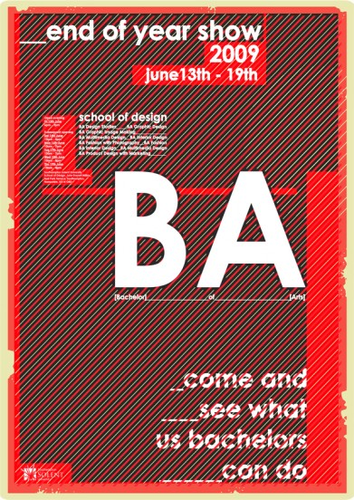 My design for the school of art and design end of year show poster