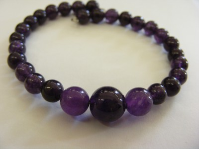 Semi Precious Amethyst Bracelet on memory wire