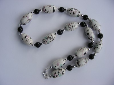 Semi Precious Black Onyx and Porcelain Necklace