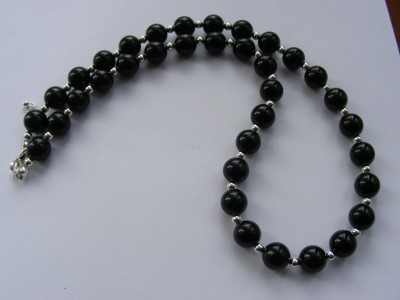 Semi Precious Black Onyx & Sterling Silver Necklace