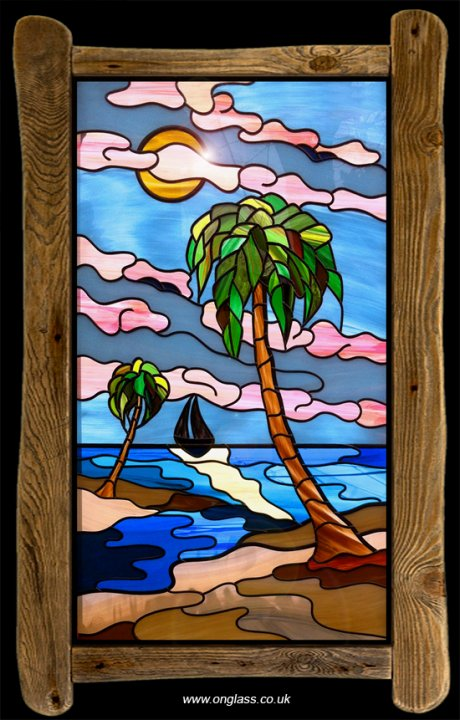 Stained glass Palm tree sunset.