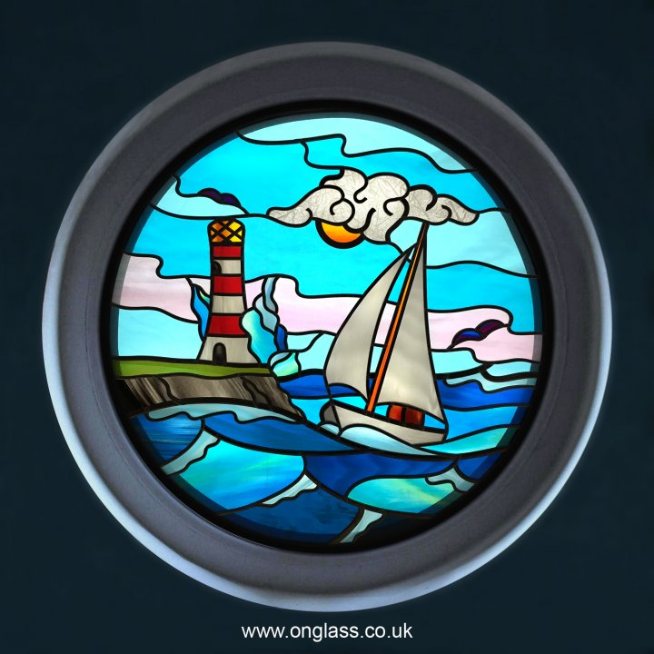 Stained glass sailing boat round port hole window