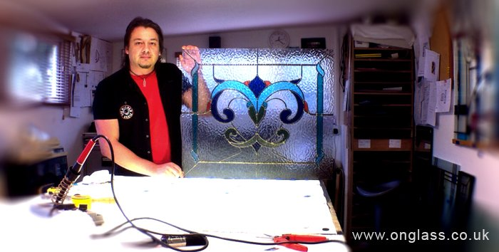 stained glass soldering fanlight