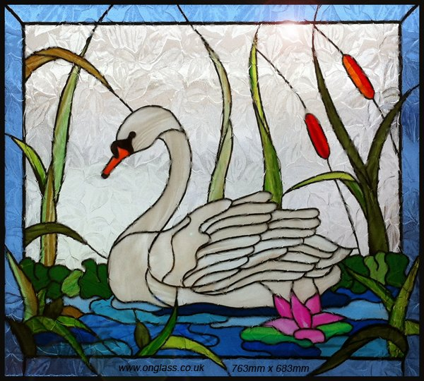 stained glass swan pattern