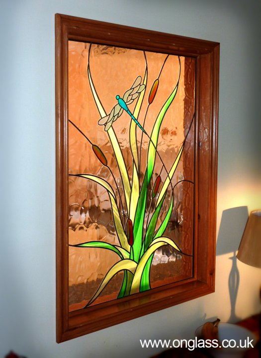 Stained glass water reeds and dragonfly