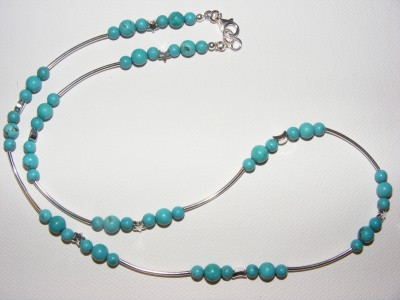 Stars, Crescent Moons Sterling Silver and Turquoise Necklace