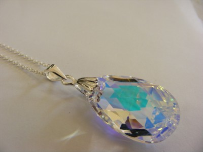Sterling Silver and Swarovski Crystal Peardrop Pendant