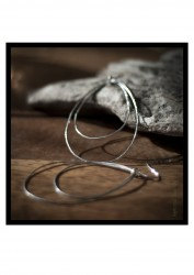 Sterling Silver Large wire hoop Earrings