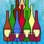 Stylised Wine Bottles and Glasses