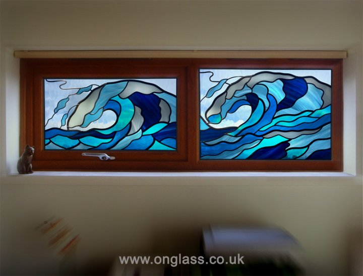 Surfs Up - stained glass wave fanlight windows.