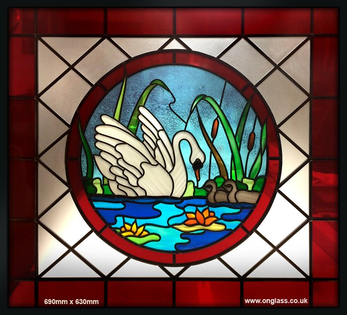 Swan & Cygnet leaded toughened glass door panel
