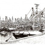 Trawlers in Brixham (Pen and Ink Drawing)