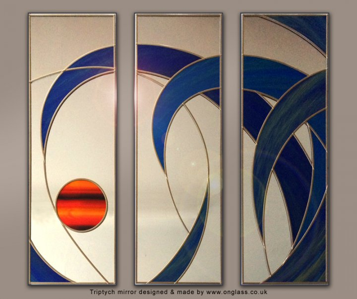 Triptych wall mirror designed & made by www.onglass.co.uk