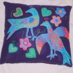 Two birds cushion - bright