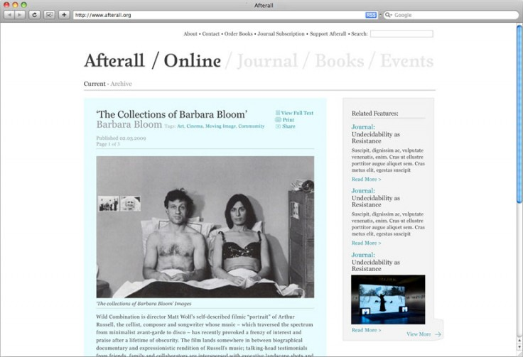 Website designed for arts organisation, Afterall
