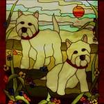 stained glass westie dog