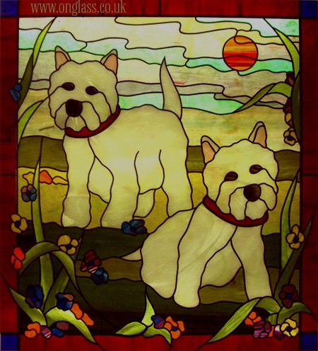 stained glass westie dog