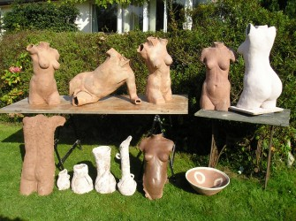 Work to be fired in wood kiln