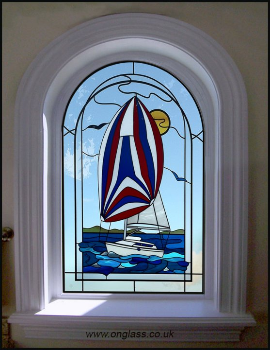 Yacht - Sailing boat stained glass design pattern.