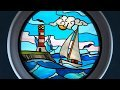 Stained glass sail boat round port hole window