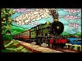 Steam railway locomotive Hornby model train room stained glass w