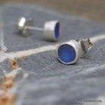 Blue sea glass studs