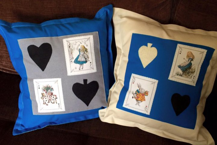 Cushion with Vintage Alice in Wonderland Illustration