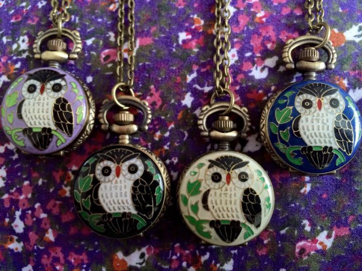 Handpainted Owl Watch Pendants