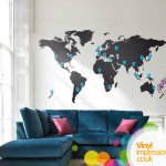 Large World Map Wall Sticker